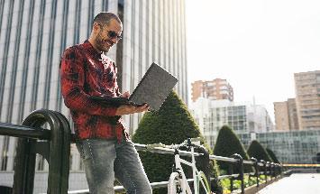 man laptop outside